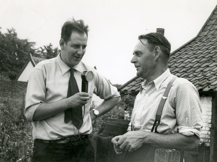 Peter Kennedy interviewing Edgar Button. Thebburton, Suffolk, 1956